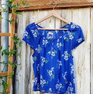 Blue Floral Hollister Top